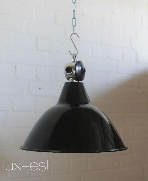 'RIESA M POLIERT' Industriedesign Fabrik Emaille Lampe Bauhaus
