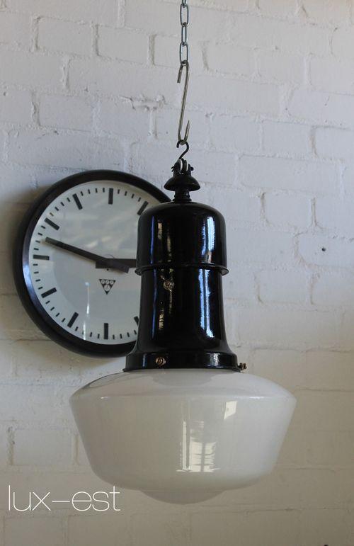 'LUCKA OPAL' Industrie Fabrik Design Lampe Emaille Vintage Porzellan