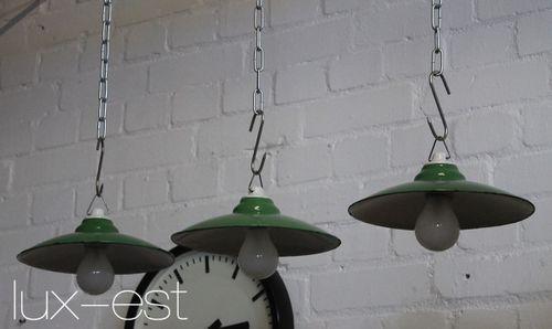 'VERA M GREEN III' Industrie Werkstatt Lampe Emaille