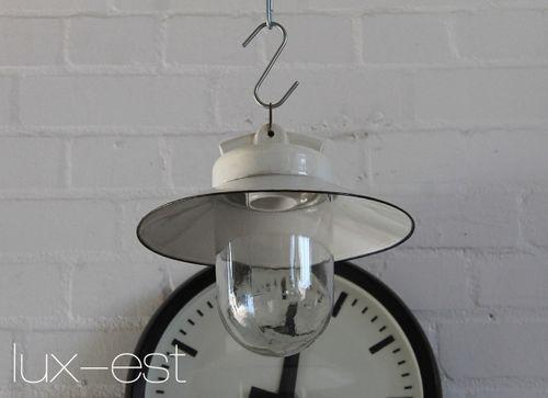 'VISTA M IV' Bauhaus Design Lampe Emaille Glas Porzellan Industrie