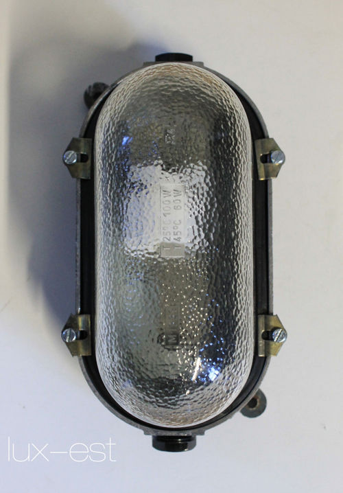 'STREHLA S PURE HIGH' Fabrik Bunker Industrie Lampe Glas Vintage