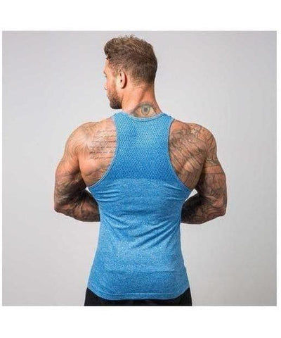 Muscle Nation Ghost Seamless Vest Blue-Muscle Nation-Gym Wear