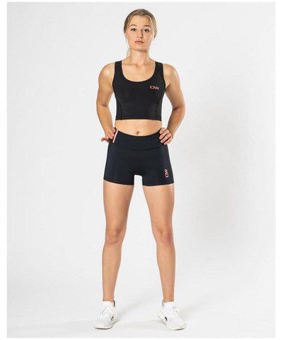 ICIW Stripe High Waisted Shorts Black-ICIW-Gym Wear