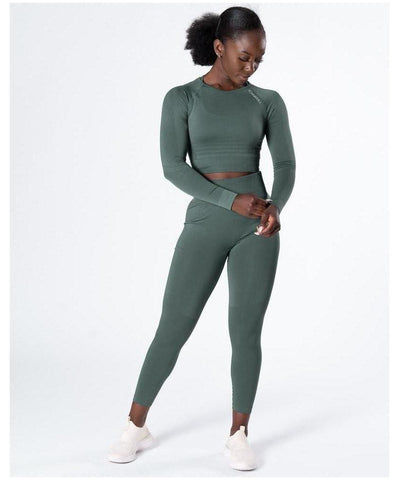 ICIW Define Seamless Crop Top Jungle Green-ICIW-Gym Wear