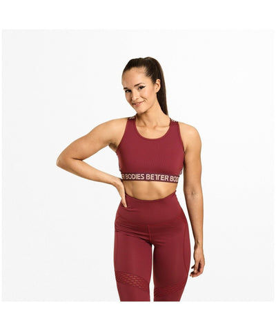 Better Bodies Waverly Elastic Sports Bra Red-Better Bodies-Gym Wear