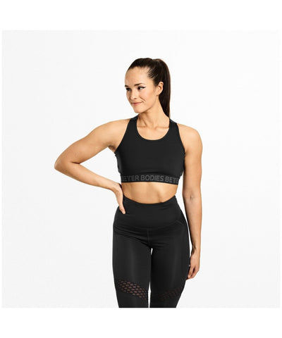 Better Bodies Waverly Elastic Sports Bra Black-Better Bodies-Gym Wear