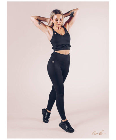 Workout Empire Strong is Female Frill Leggings Black