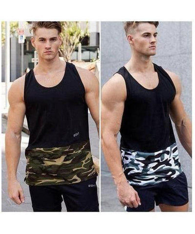 Echt Mens Militant Sleeveless T-Shirt Dark Khaki-Echt-Gym Wear
