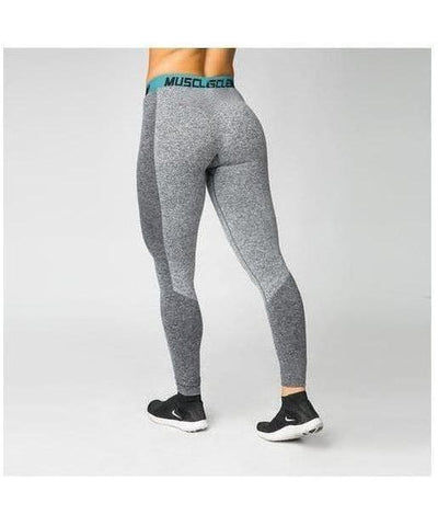 Muscle Nation Luxe Seamless Leggings Grey/Green-Muscle Nation-Gym Wear