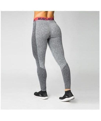 Muscle Nation Luxe Seamless Leggings Grey/Pink-Muscle Nation-Gym Wear