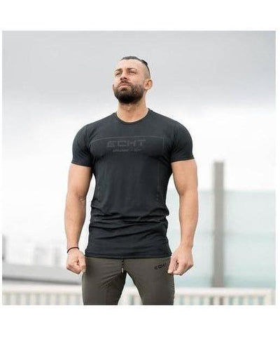 Echt Storm Grid T-Shirt Black-Echt-Gym Wear
