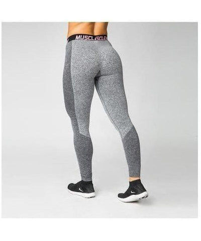 Muscle Nation Luxe Seamless Leggings Grey/Black-Muscle Nation-Gym Wear