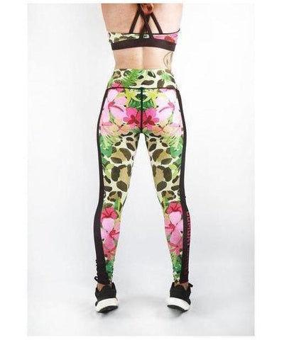 Combat Dollies Pink Hibiscus Fitness Leggings-Combat Dollies-Gym Wear
