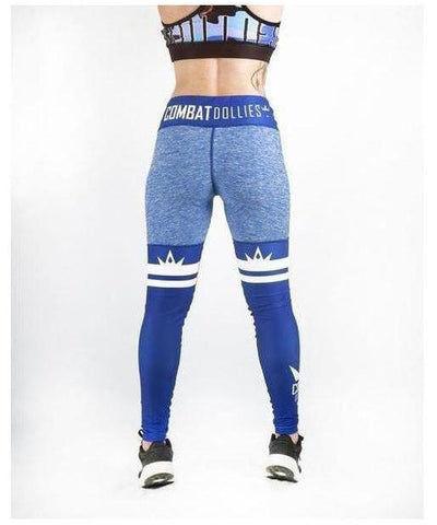 Combat Dollies High Leg Fitness Leggings Blue