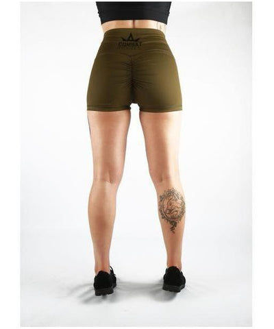Combat Dollies Super High Waist Khaki Booty Shorts-Combat Dollies-Gym Wear