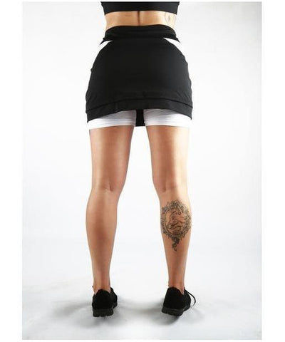 Combat Dollies Training Skort White/Black-Combat Dollies-Gym Wear