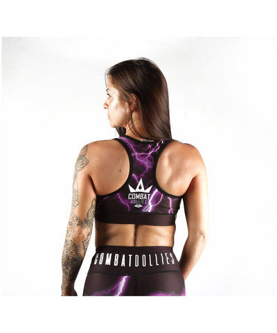 Combat Dollies Purple Lightning Sports Bra-Combat Dollies-Gym Wear