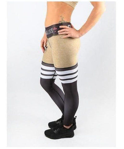 Combat Dollies High Leg Fitness Leggings Tan-Combat Dollies-Gym Wear