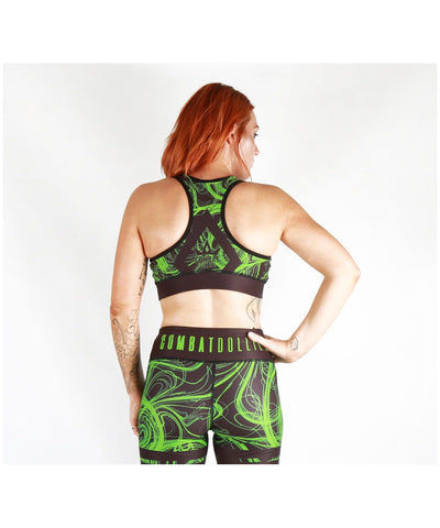 Combat Dollies Green Swirls Sports Bra-Combat Dollies-Gym Wear