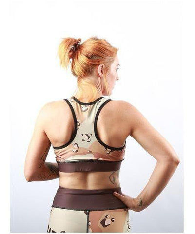 Combat Dollies Desert Camo Sports Bra-Combat Dollies-Gym Wear