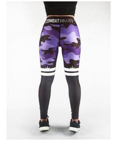Combat Dollies Purple Camo Stripe Fitness Leggings