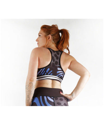 Combat Dollies Wild Blue Sports Bra-Combat Dollies-Gym Wear