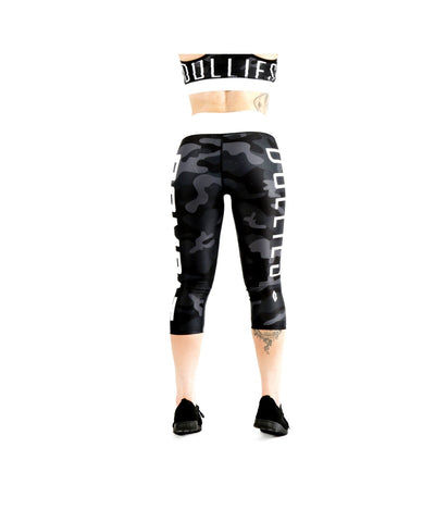Combat Dollies Black Camo Capri Fitness Leggings-Combat Dollies-Gym Wear