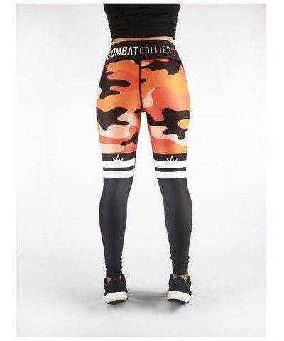 Combat Dollies Orange Camo Stripe Fitness Leggings-Combat Dollies-Gym Wear