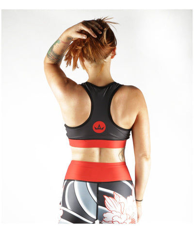 Combat Dollies Tumbling Peonies Sports Bra-Combat Dollies-Gym Wear