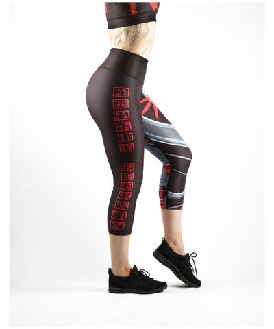 Combat Dollies Red Bamboo Capri Fitness Leggings-Combat Dollies-Gym Wear