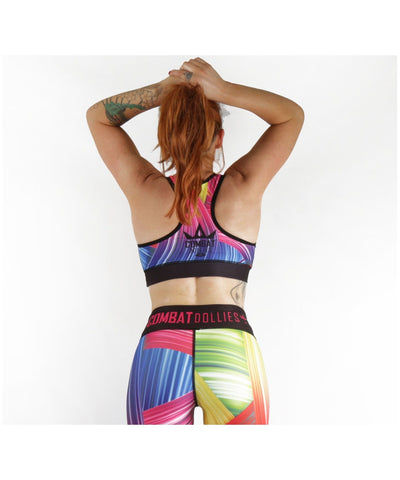 Combat Dollies Rainbow Power Sports Bra-Combat Dollies-Gym Wear