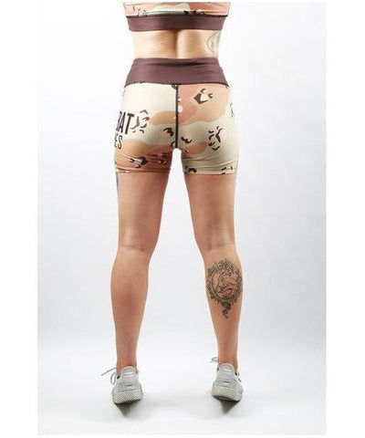 Combat Dollies Desert Camo Fitness Shorts-Combat Dollies-Gym Wear