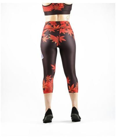 Combat Dollies Maple Leaf Capri Fitness Leggings-Combat Dollies-Gym Wear