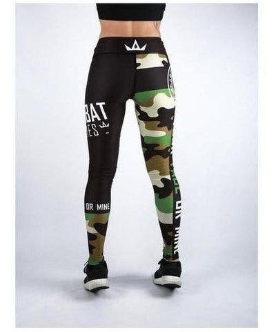 Combat Dollies Fitness Leggings Green Camo-Combat Dollies-Gym Wear