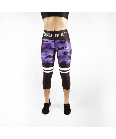 Combat Dollies Purple Camo Stripe Capri Fitness Leggings
