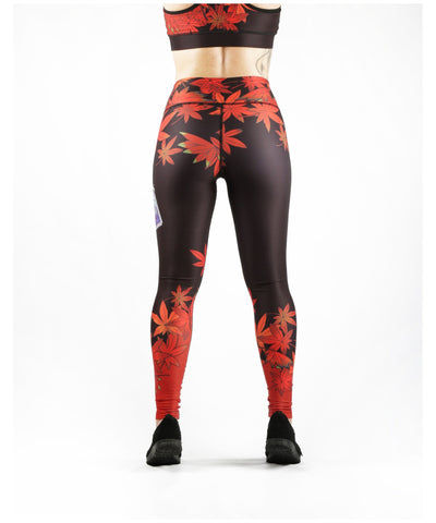 Combat Dollies Maple Leaf Fitness Leggings-Combat Dollies-Gym Wear