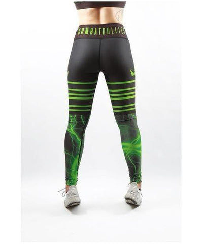 Combat Dollies Green Lightning Fitness Leggings-Combat Dollies-Gym Wear