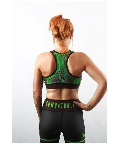 Combat Dollies Green Lightning Sports Bra-Combat Dollies-Gym Wear