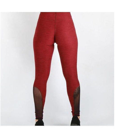 Combat Dollies Mesh Leggings Maroon-Combat Dollies-Gym Wear