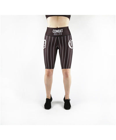 Combat Dollies Black Baseball Cycle Shorts-Combat Dollies-Gym Wear