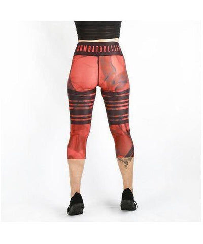 Combat Dollies Red Tribe Capri Fitness Leggings-Combat Dollies-Gym Wear