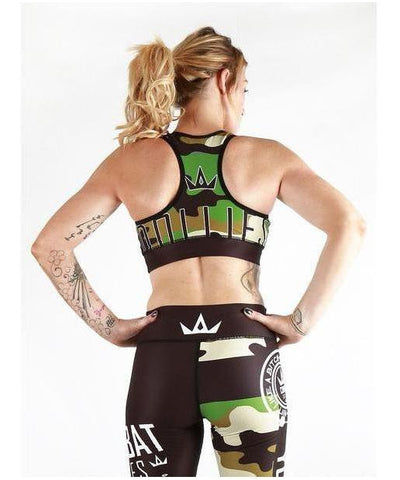 Combat Dollies Green Camo Sports Bra-Combat Dollies-Gym Wear