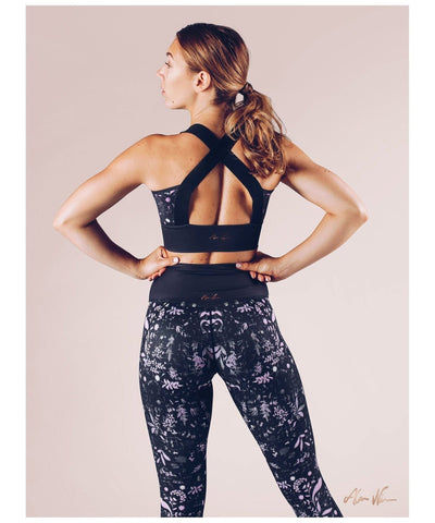 Workout Empire Strong Is Female Floral Sports Bra Black-Workout Empire-Gym Wear