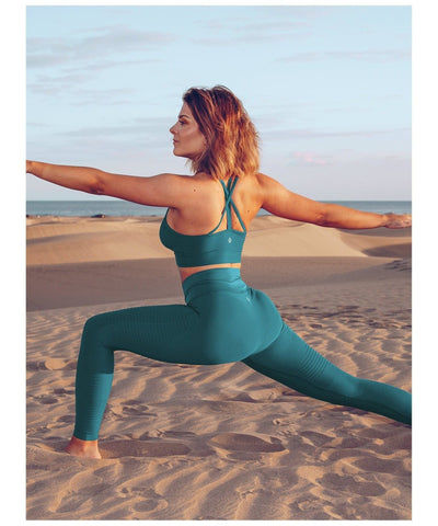 Workout Empire Regalia Flow High Waisted Leggings Ocean Blue-Workout Empire-Gym Wear