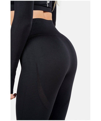 Famme Vortex High Waisted Leggings Black-Famme-Gym Wear