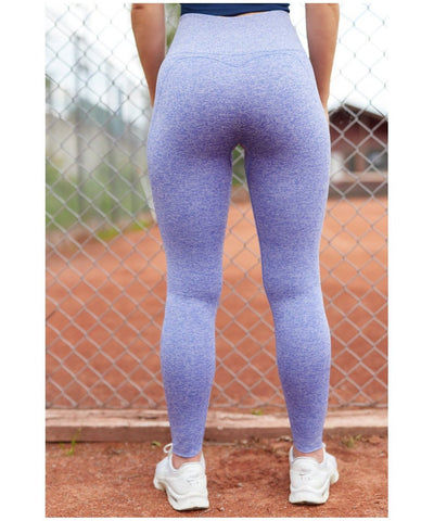 Famme Techna High Waisted Seamless Leggings Blue Iris-Famme-Gym Wear