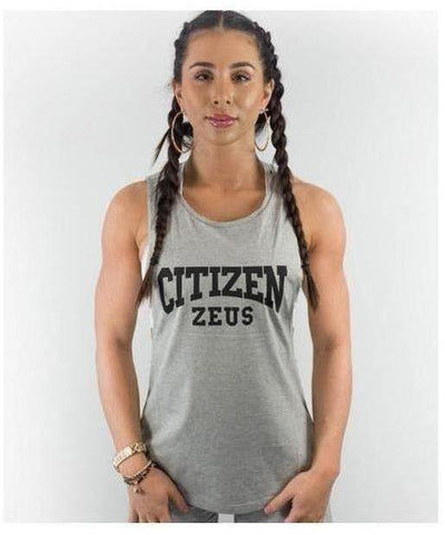 Citizen Zeus Womens Lowrider Sleeveless T-Shirt Grey-Citizen Zeus-Gym Wear