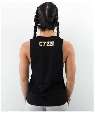Citizen Zeus Womens Lowrider Sleeveless Tee Black/Gold-Citizen Zeus-Gym Wear