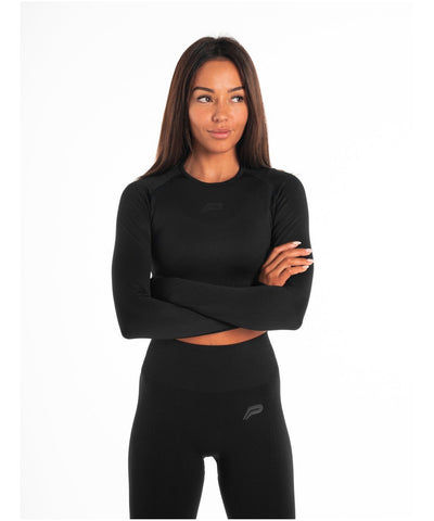 Pursue Fitness ADAPT Seamless Long Sleeve Crop Top Blackout-Pursue Fitness-Gym Wear