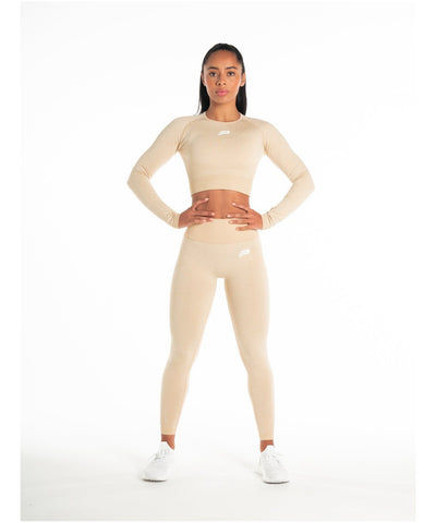 Pursue Fitness ADAPT Seamless Long Sleeve Crop Top Beige-Pursue Fitness-Gym Wear